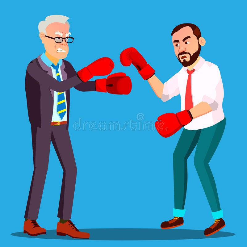 Två affärsmän i dräktkamp i vektor för boxninghandskar isolerad knapphandillustration skjuta s-startkvinnan royaltyfri illustrationer