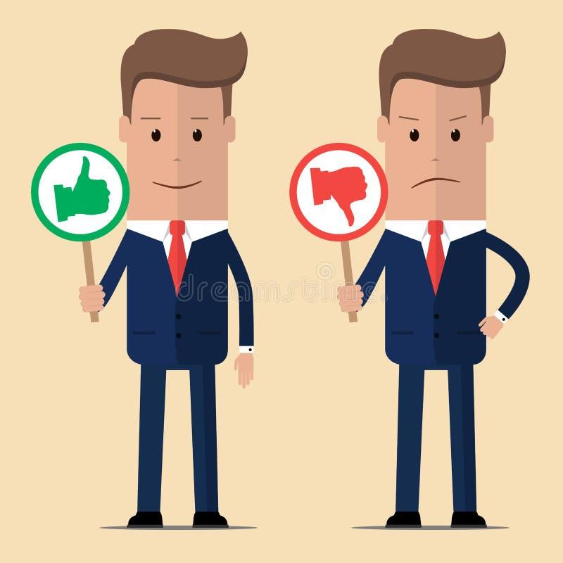 Två affärsmän med tummar upp och tummen ner också vektor för coreldrawillustration royaltyfri illustrationer