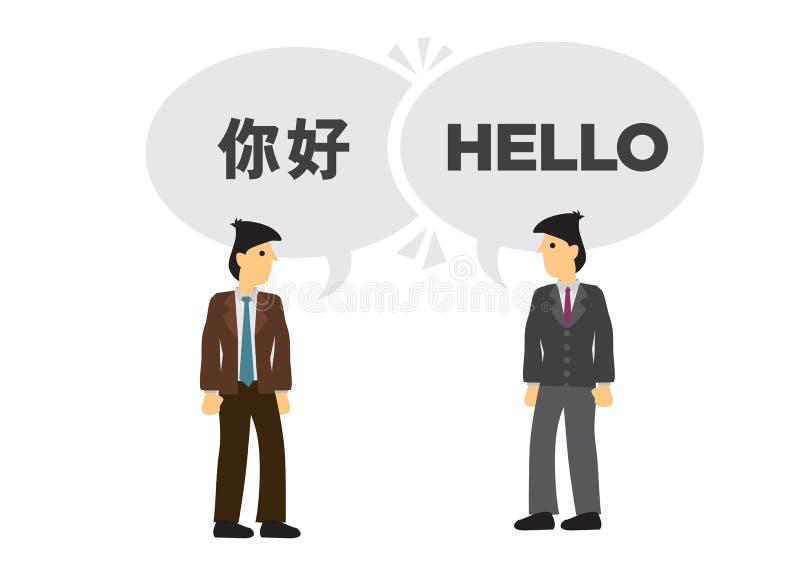 Två affärsmän meddelar i olika språk Begrepp av den internationella affären eller företags samarbete Engelskt och vektor illustrationer
