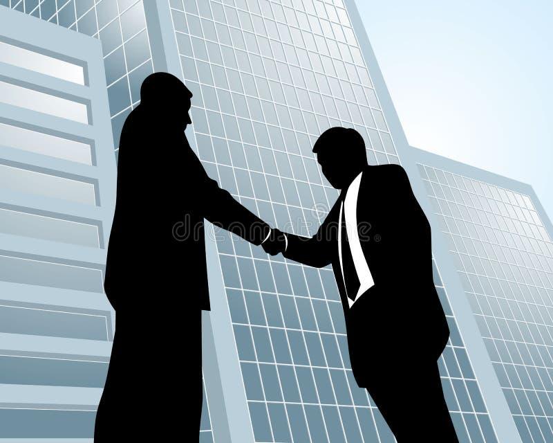 Två affärsmän på stadsbakgrund stock illustrationer