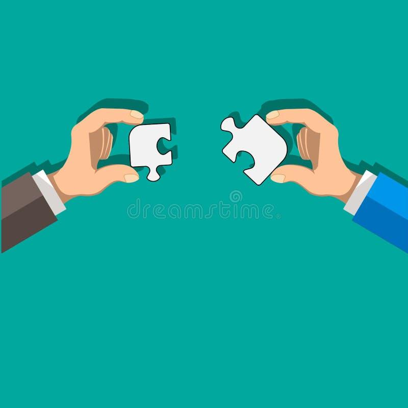 Två affärsmän rymmer pusslet på deras händer Utveckling, partnerskap och korporation S vektor illustrationer