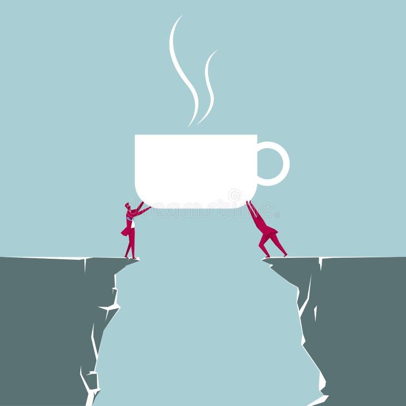 Två affärsmän rymmer upp kaffe stock illustrationer