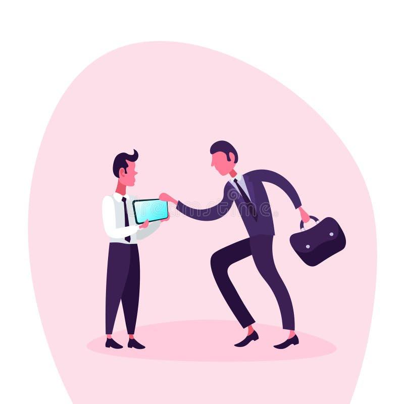 Två affärsmän som använder den mobila app-smartphonen, avskärmar online-begrepp för kommunikation för man för schemaapplikationaf royaltyfri illustrationer