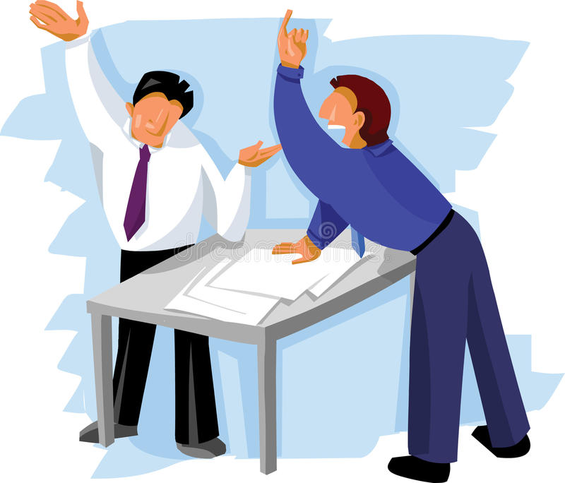 Två affärsmän som diskuterar stock illustrationer