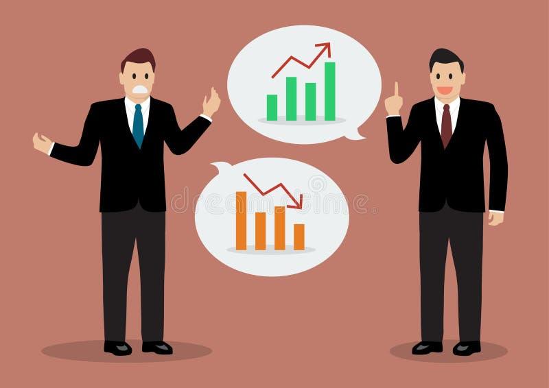 Två affärsmän som diskuterar finansiell planläggning vektor illustrationer
