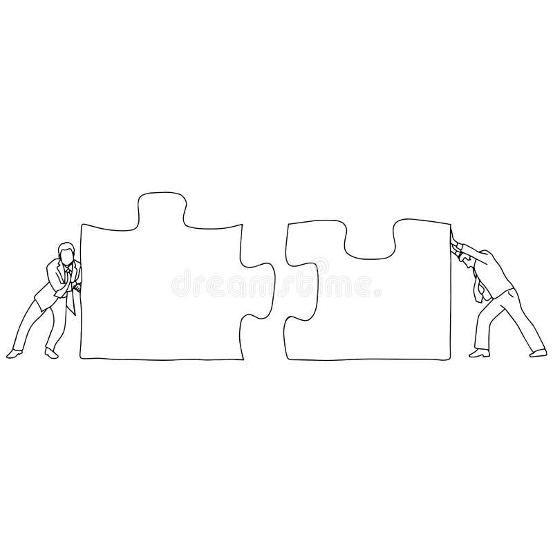 Två affärsmän som förbinder två stycken av vektorillustrationen för pusslet, skissar tillsammans klotterhanden som dras med svart royaltyfri illustrationer