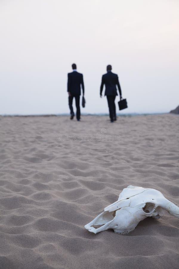 Två affärsmän som går i väg från en djur skalle i mitt av öknen royaltyfria foton
