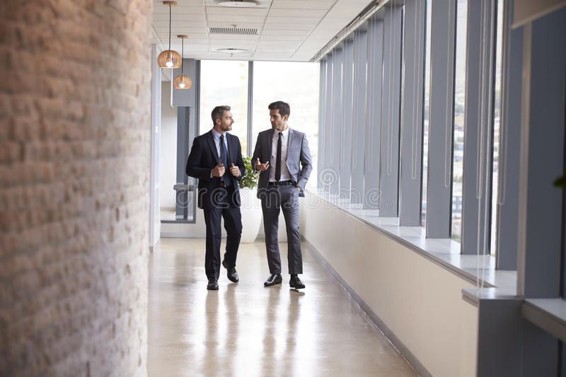 Två affärsmän som har informellt möta i regeringsställning korridoren arkivfoto