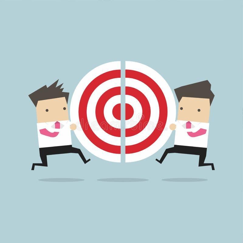 Två affärsmän som kör och, skjuter stycken av målet royaltyfri illustrationer