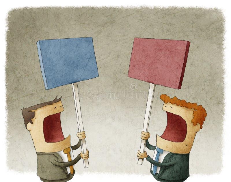 Två affärsmän som rymmer ett tecken som protesterar med olika åsikter stock illustrationer