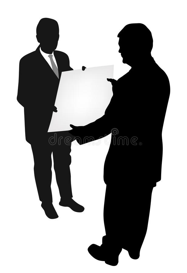 Två affärsmän som rymmer och visar nytt projektplan eller det tomma banret stock illustrationer