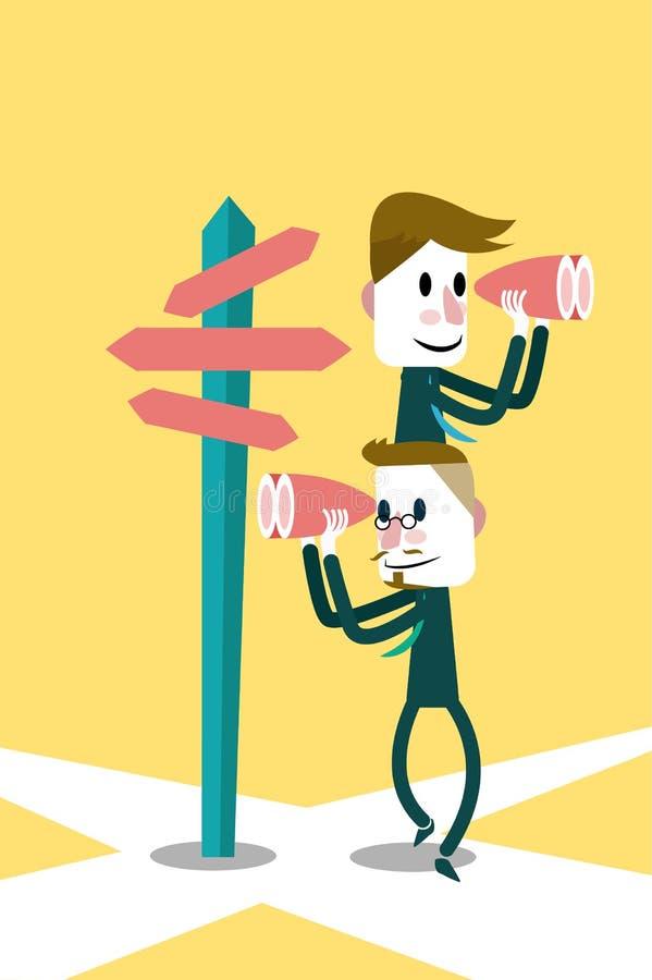 Två affärsmän som söker efter framgångvägen. royaltyfri illustrationer