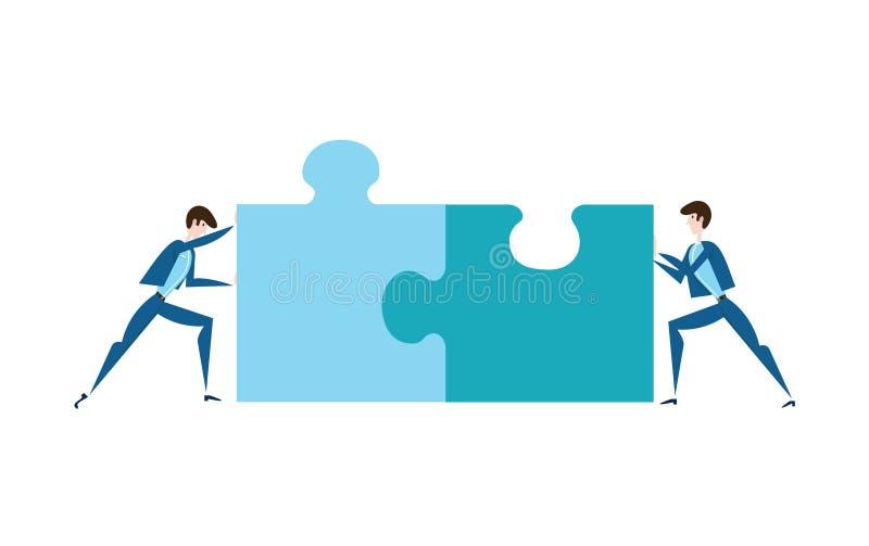 Två affärsmän som skjuter styckena av pussel Begreppet av gemensam problemlösning, teamwork, samarbete vektor stock illustrationer