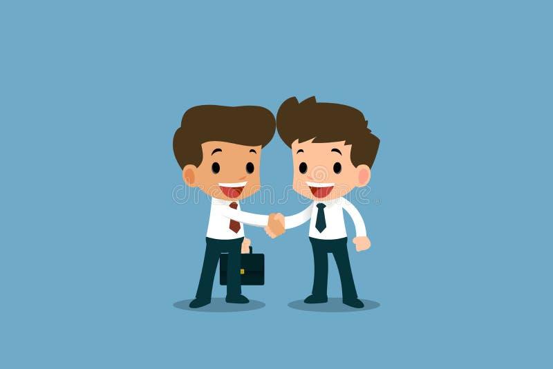 Två affärsmän som står och, skakar händer för samarbete och gör ett avtal vektor illustrationer