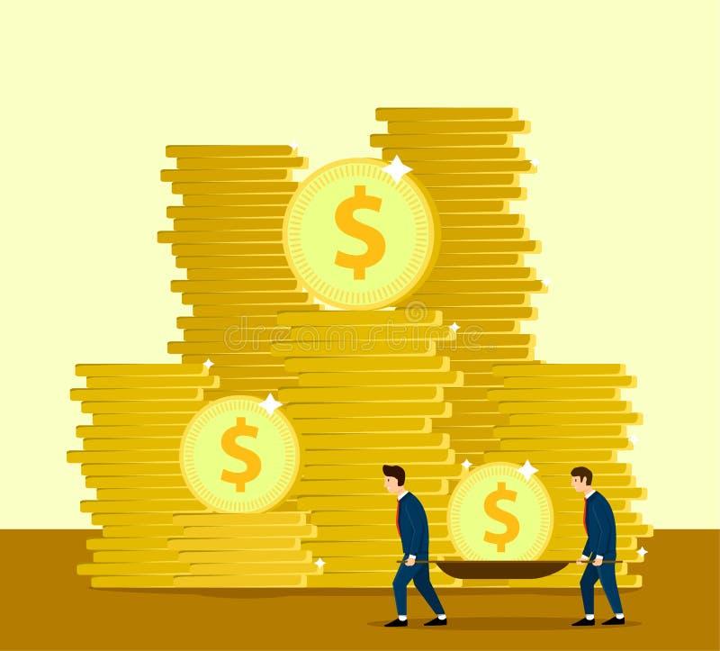 Två affärsmän tar en lön på båren stora pengar bankirer Sparande rolig affärsidé för pengar Vektordesigndesign royaltyfri illustrationer