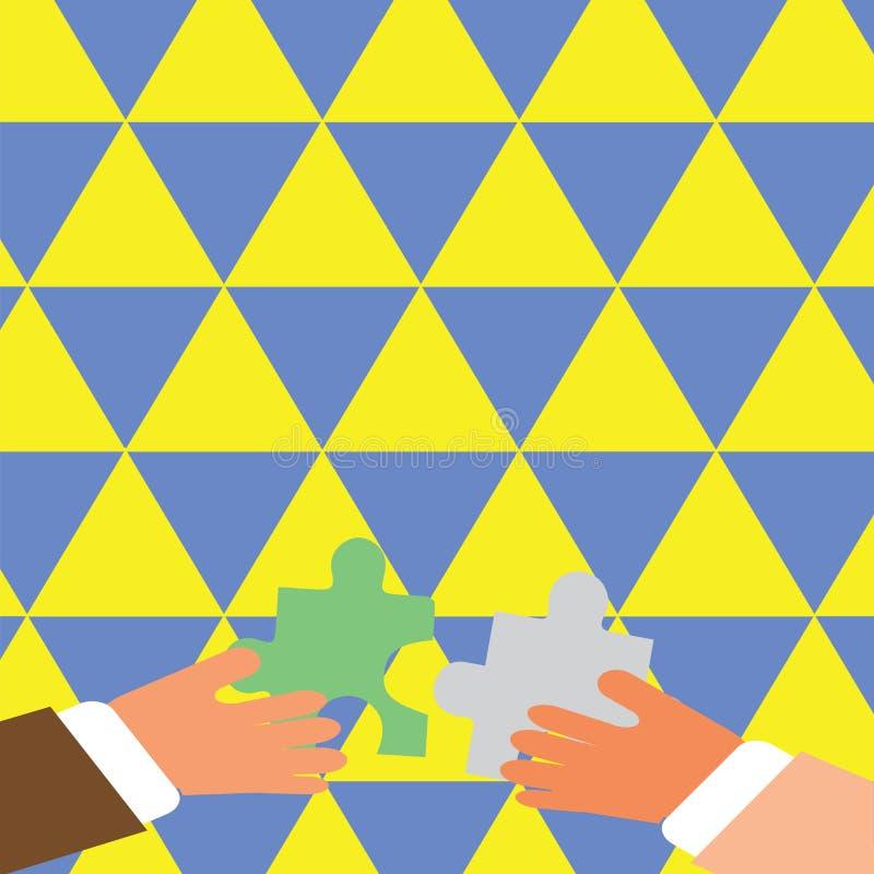 Två affärsmanhänder som rymmer färgrika stycken av pusslet, är omkring till säkerthetsbrytaren tegelplattorna Idérik bakgrund för royaltyfri illustrationer