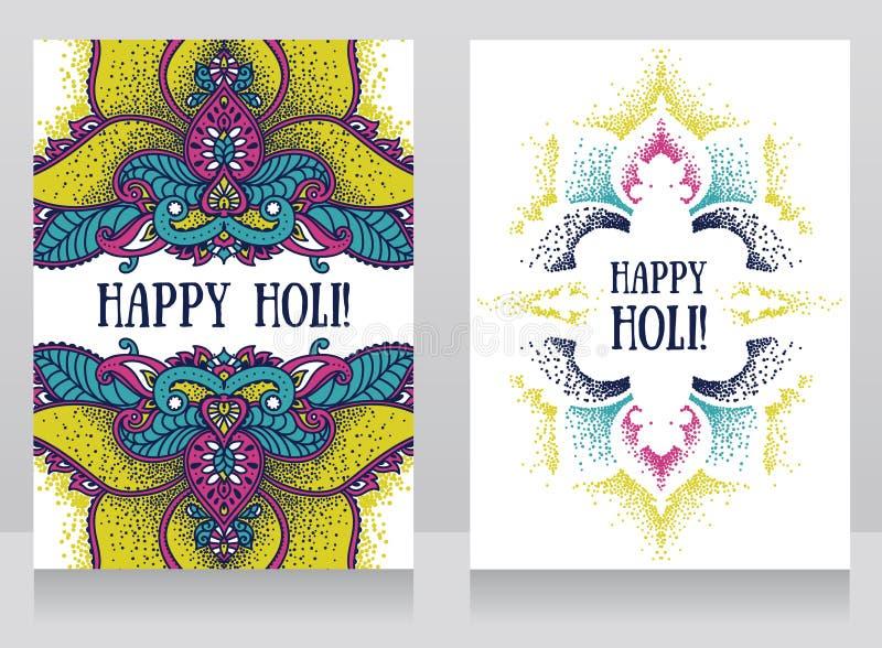 Två affischer för härlig indisk ferie - holifestivali - med den traditionella prydnaden royaltyfri illustrationer