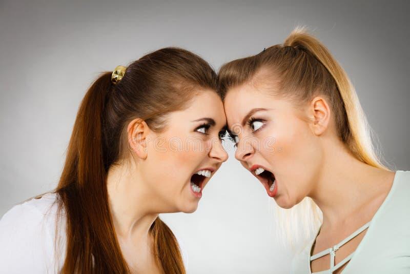 Två aggressiva kvinnor som har, argumenterar kamp royaltyfri fotografi