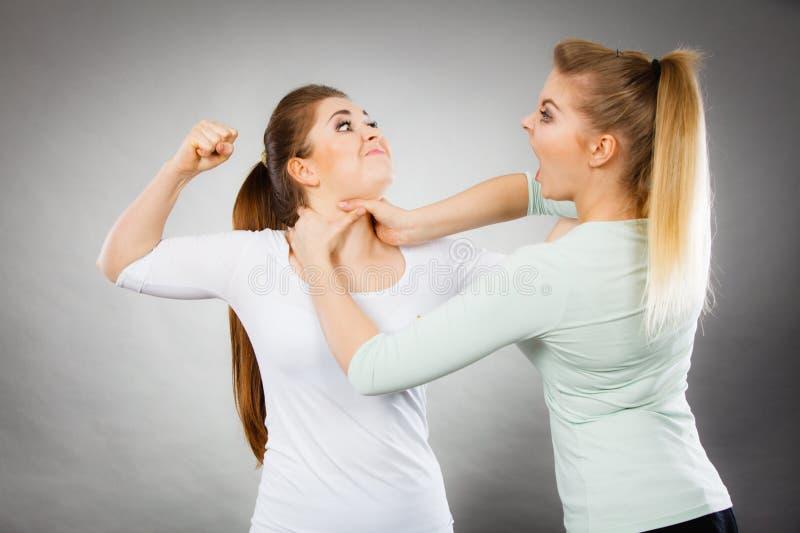 Två aggressiva kvinnor som har, argumenterar kamp royaltyfria foton