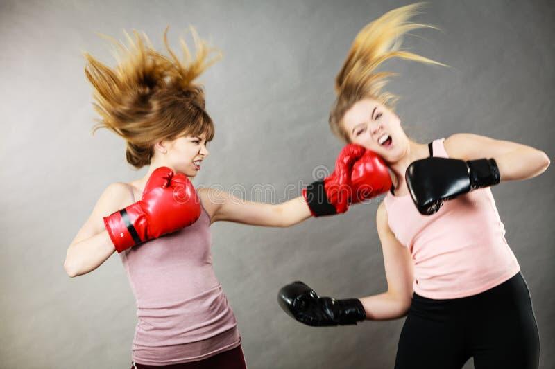 Två aggressiva kvinnor som har boxningkamp royaltyfria bilder