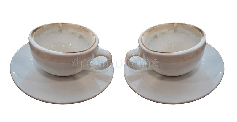 Två använde den tomma koppen kaffe som isolerades på vita bakgrunder arkivfoto