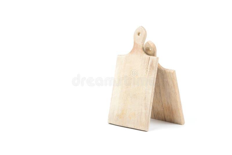 Två använde träskärbrädor som isolerades på vit bakgrund Köktillbehör och utrustning Sparad bana, snabb bana arkivbilder