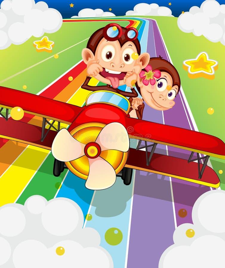 Två apor som rider i ett flygplan vektor illustrationer