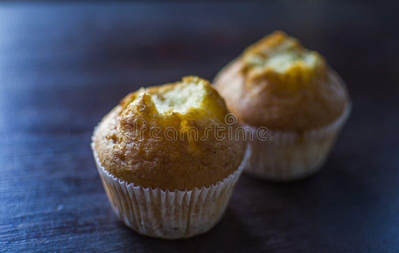 Två aptitretande stickande muffin arkivfoto