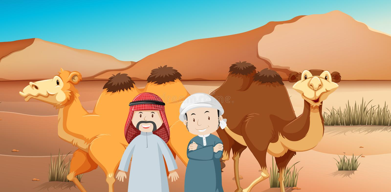 Två arabiska män och kamel i ökenland vektor illustrationer