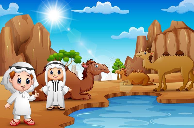 Två arabiska pojkar med kamel i öknen royaltyfri illustrationer