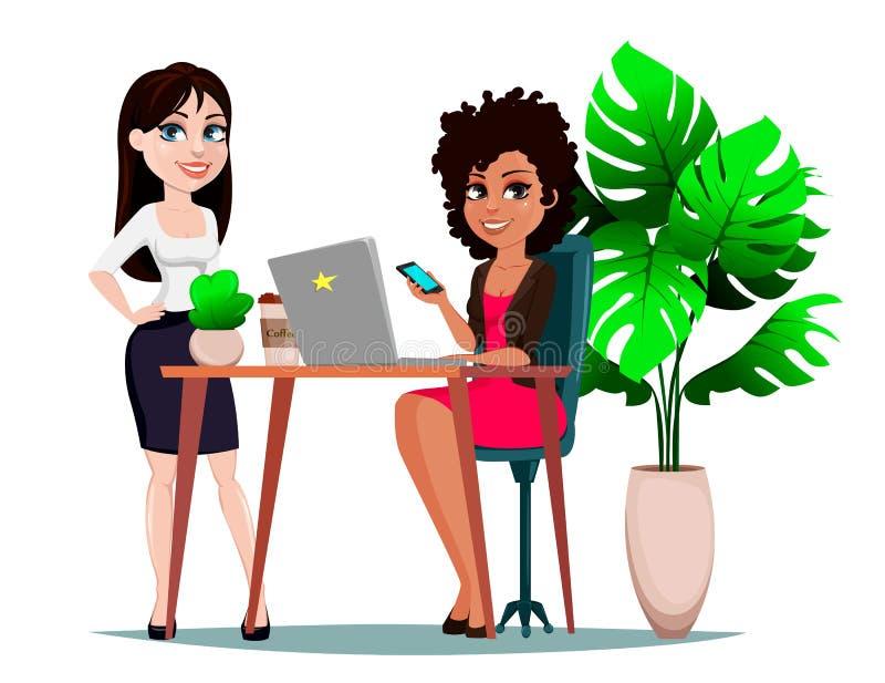 Två attraktiva affärskvinnor diskuterar affärsplan i arbetsplatsen stock illustrationer