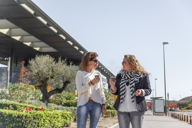 Två attraktiva affärskvinnor går, medan ha ett kaffe och prata arkivfoton
