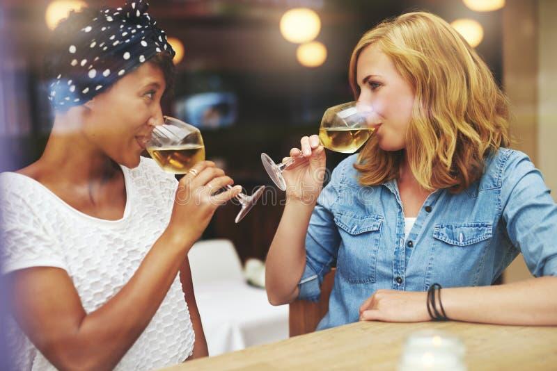 Två attraktiva kvinnor som möter upp för vin royaltyfria bilder