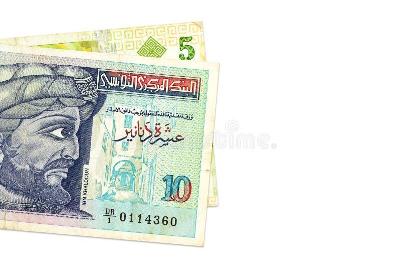 Två av sedlar för tunisian dinar arkivbild
