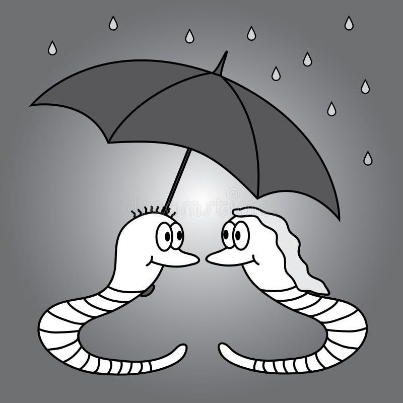 Två avmaskar och regnigt väder eps10 royaltyfri illustrationer