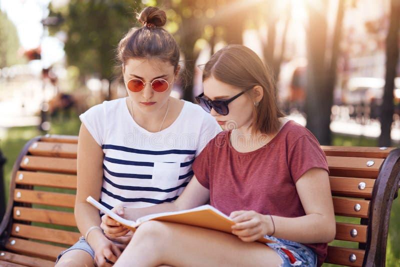 Två bästa vän eller klasskompisar förbereder sig för sista examina på universitetet, bär den moderiktiga skjortan för solglasögon arkivfoto