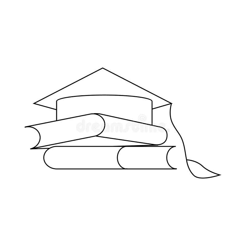 Två böcker och avläggande av examen cap symbolen, översiktsstil royaltyfri illustrationer