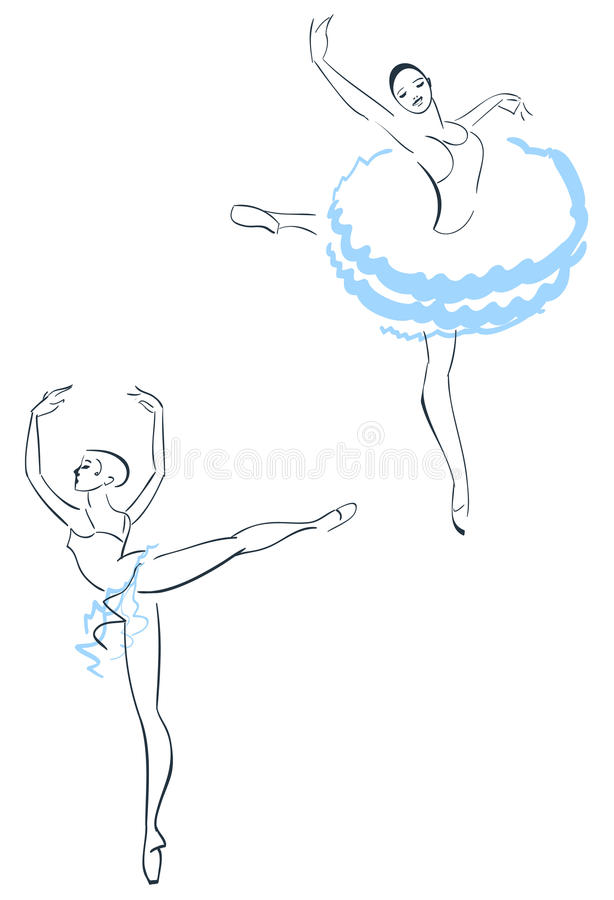 Två ballerina stock illustrationer