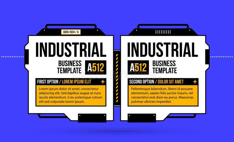 Två baner/alternativ med högteknologiska beståndsdelar i geometrisk industriellt/techno utformar royaltyfri illustrationer