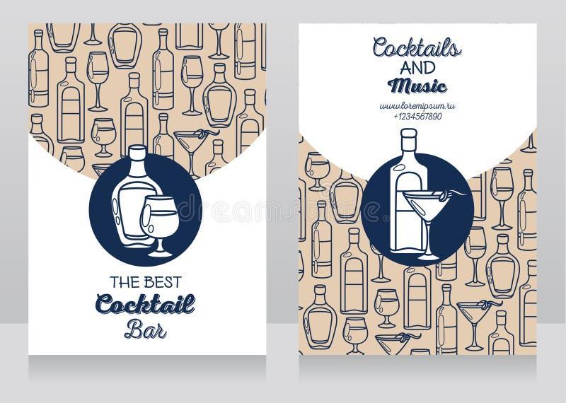 Två baner för coctailstång royaltyfri illustrationer