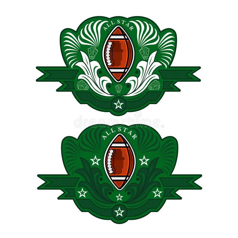 Två baner med bollen för amerikansk fotboll i mitt av det gröna banret med modellen Sportlogo för någon lag eller konkurrens elle royaltyfri illustrationer