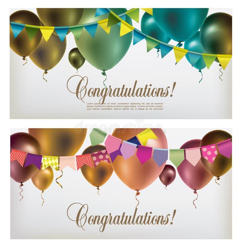 Två baner med mångfärgade flygballonger, pappers- girlander och konfettier royaltyfri illustrationer