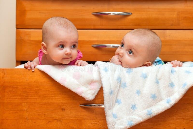 Två barn i bröstkorgen royaltyfri fotografi