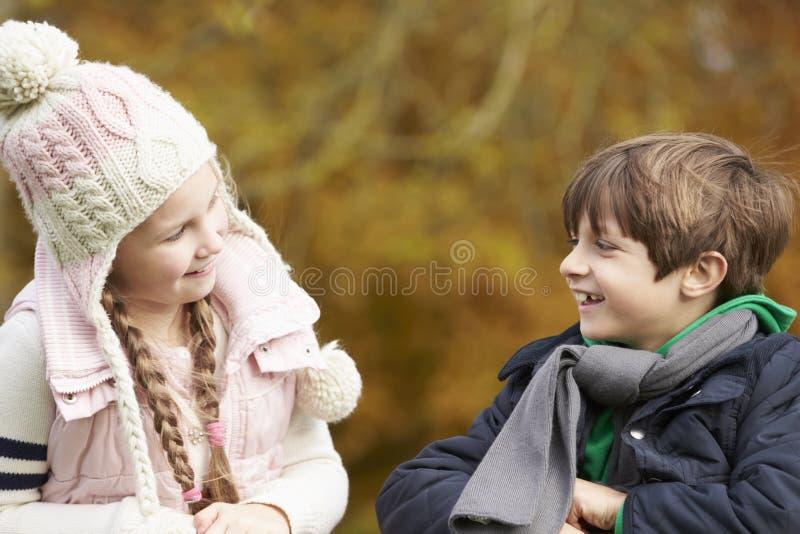 Två barn som lutar över trästaketet Talking arkivbild