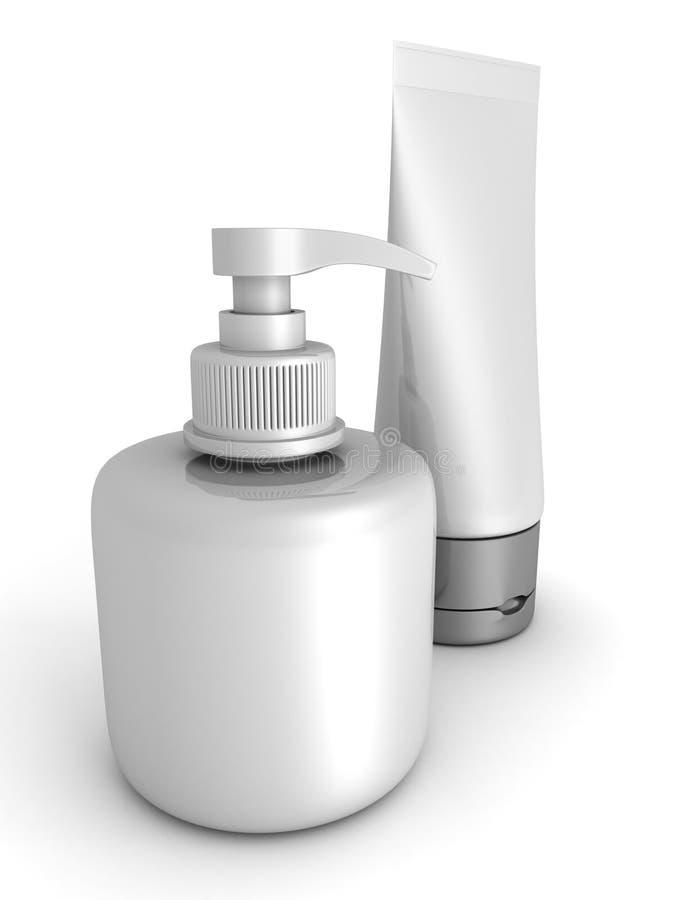 Två behållare för skönhetsmedel för skönhethygienkräm på vit stock illustrationer