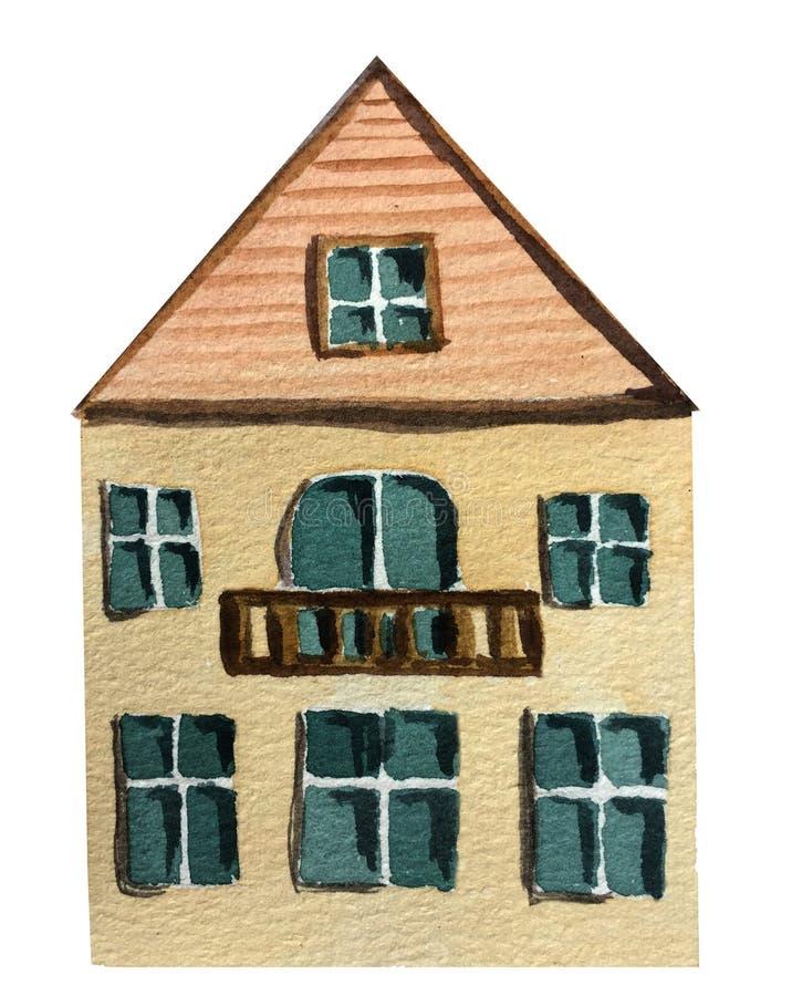 Två-berättelse hus med en balkong på en vit bakgrund f?r flygillustration f?r n?bb dekorativ bild dess paper stycksvalavattenf?rg vektor illustrationer