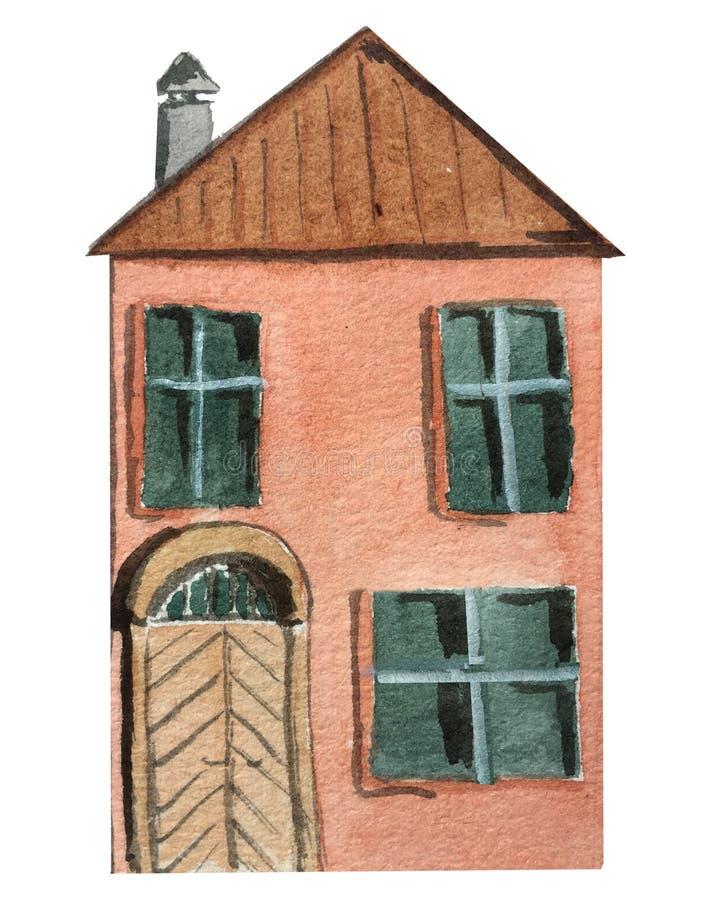 Två-berättelse rött hus med en stor dörr på en vit bakgrund Vattenf?rgillustration f?r design stock illustrationer