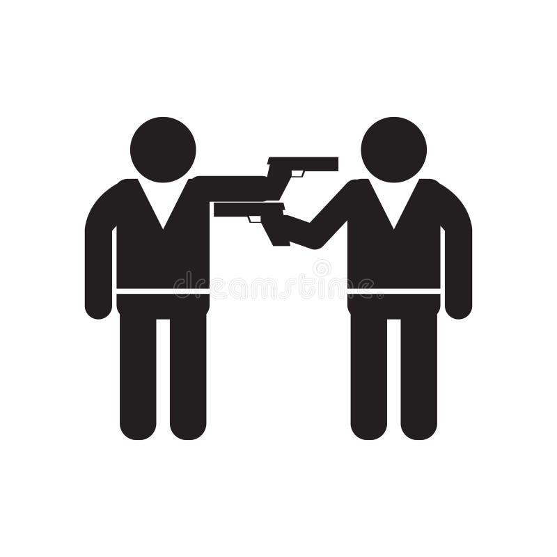 Två beväpnade gangster som pekar sig med deras tecken och symbol för armsymbolsvektor som isoleras på vit bakgrund, beväpnade två stock illustrationer