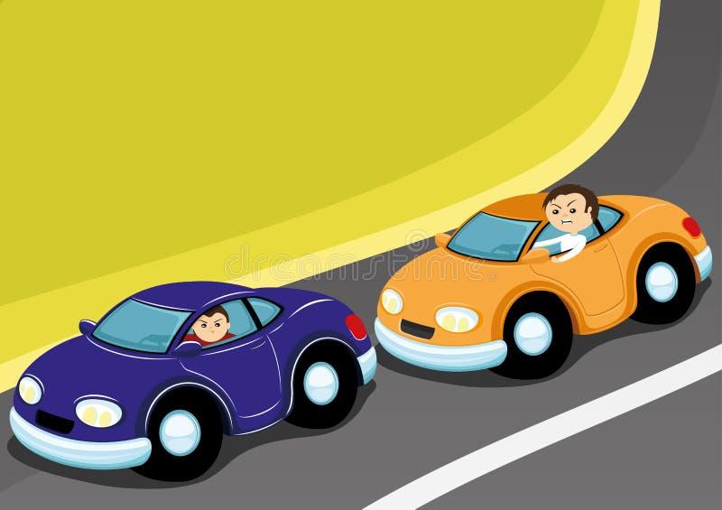 Två bilar på vägen vektor illustrationer
