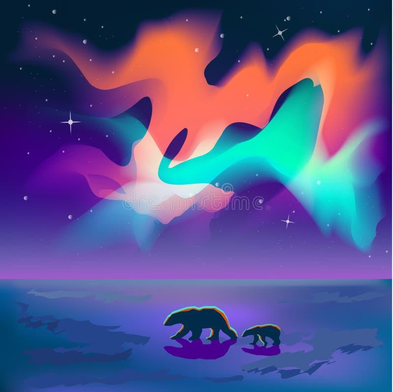 Två björnar går under de nordliga ljusen på nattvektorn stock illustrationer